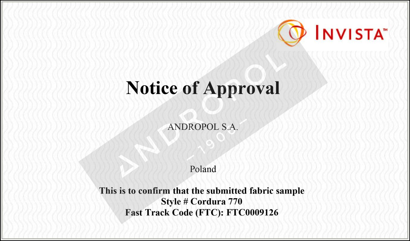 Notice of Aproval